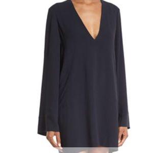 Helmut Lang Long-Sleeve Crepe V Neck Shift Dress